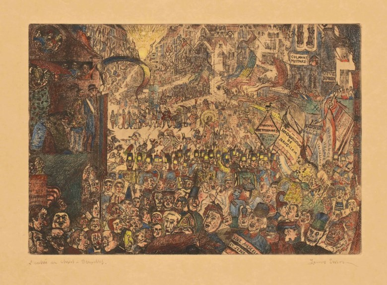 James Ensor (1860-1949), LEntrée du Christ à Bruxelles (The Entry of Christ into Brussels). Sold for £74,500 on 19 March 2014 at Christie's in London