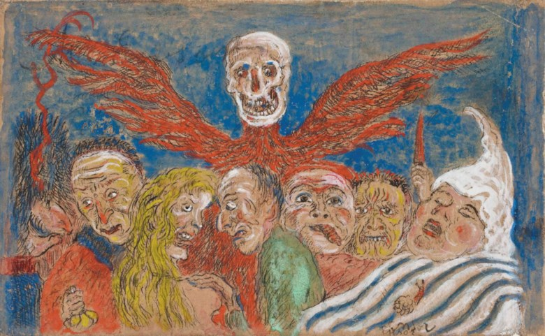 James Ensor (1860-1949), Péchés Capitaux dominés par la Mort, from Les Sept Péchés Capitaux (The Deadly Sins Dominated by Death, from The Seven Deadly Sins). 95 x 150  mm. Sold for £134,500 on 19 March 2014 at Christie's in London