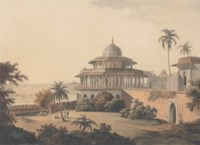 Hindoo Temples at Bindrabund on the River Jumna. March 1795.; The Chalees Satoon in the Fort of Allahabad on the River Jumna. July 1795.; Hindoo Temples at Agouree, on the River Soane, Bahar. September 1796.; Sculptured Rocks, at Mavalipuram, on the Coast of Coromandel. Octr 15 1799.; The Entrance of an excavated Hindoo Temple, at Mavalipuram. Octr 15 1799; Jag Deo & Warrangur, Hill Forts in the Barramah'l. June 1 1802.; Ousoor, in the Mysore. Augt 1 1802.; View of Gyah, an Hindoo Town, in Bahar. Octr 1 1802.; Lucnow taken from the opposite bank of the River Goomty. Decr 1 1802.; View from the Ruins of the Fort of Currah, on the River Ganges. April 1 1803.; Shevagurry. Jany 1 1804.; Near Atoor, in the Dindigul District. Jany 1 1804.; Near Bandell on the River Hoogly. Jany 1 1804.; and Siccra Gulley on the Ganges. Jany 1 1804. (Abbey Travel 420, nos 3, 7, 20, 52, 53, 87, 90, 91, 93, 97, 130, 132, 134, 135)