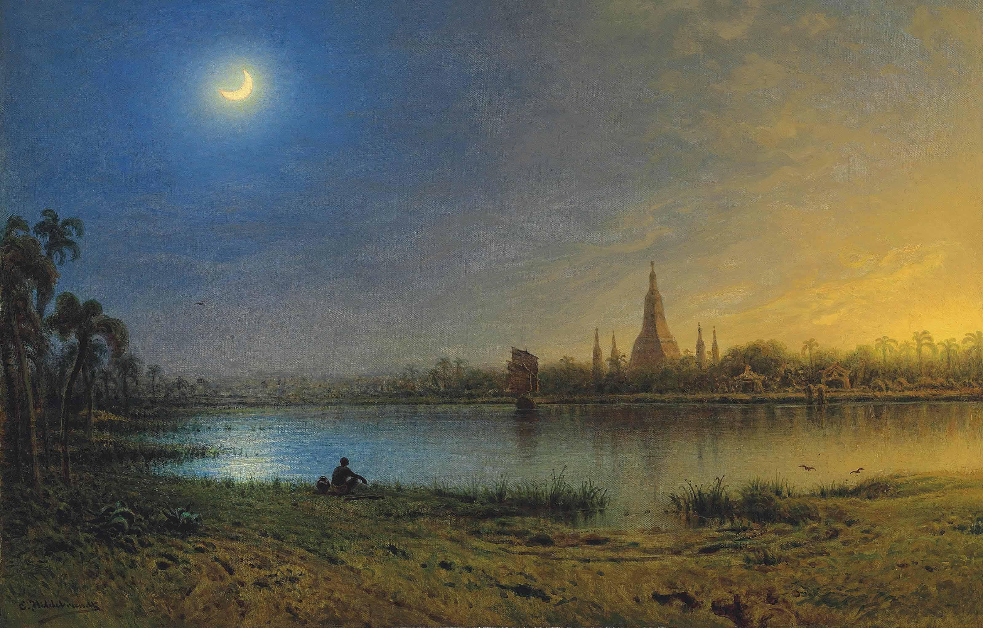 Ein heiliger See in Birma