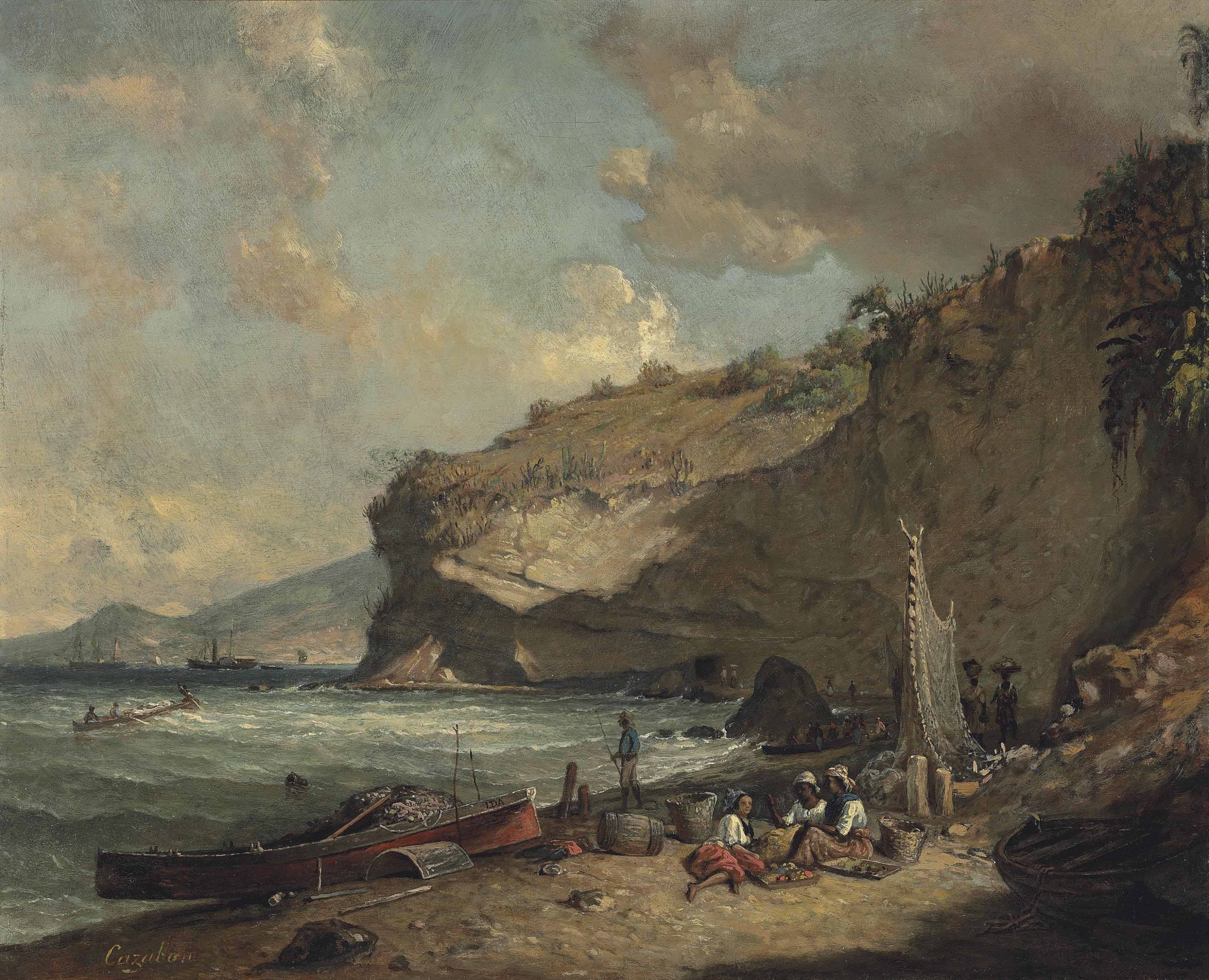 The Coast at Le Carbet, Martinique, with the Trou Caraïbe, looking towards St. Pierre