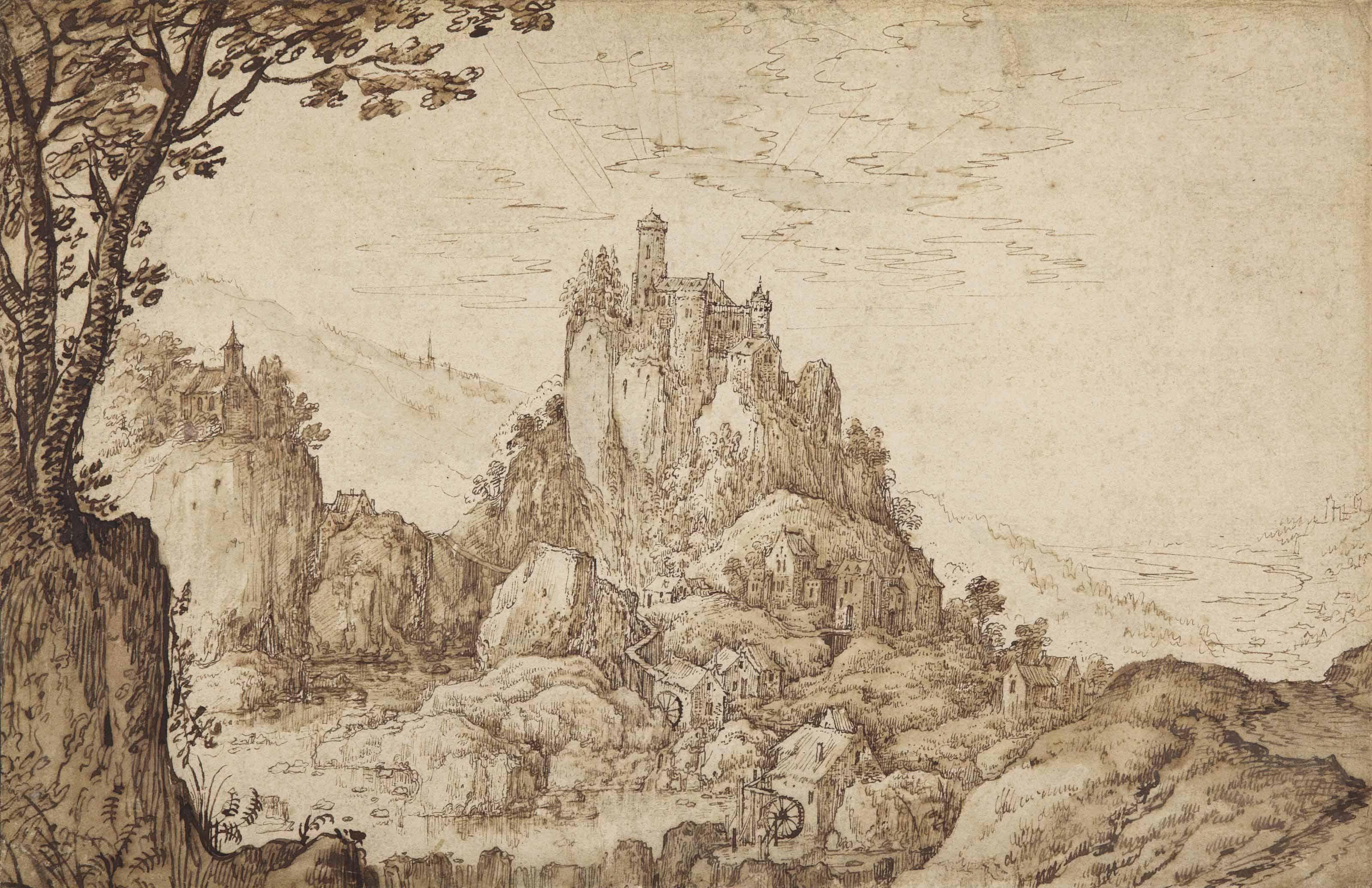 A castle on a crag in a mountainous landscape at sunrise