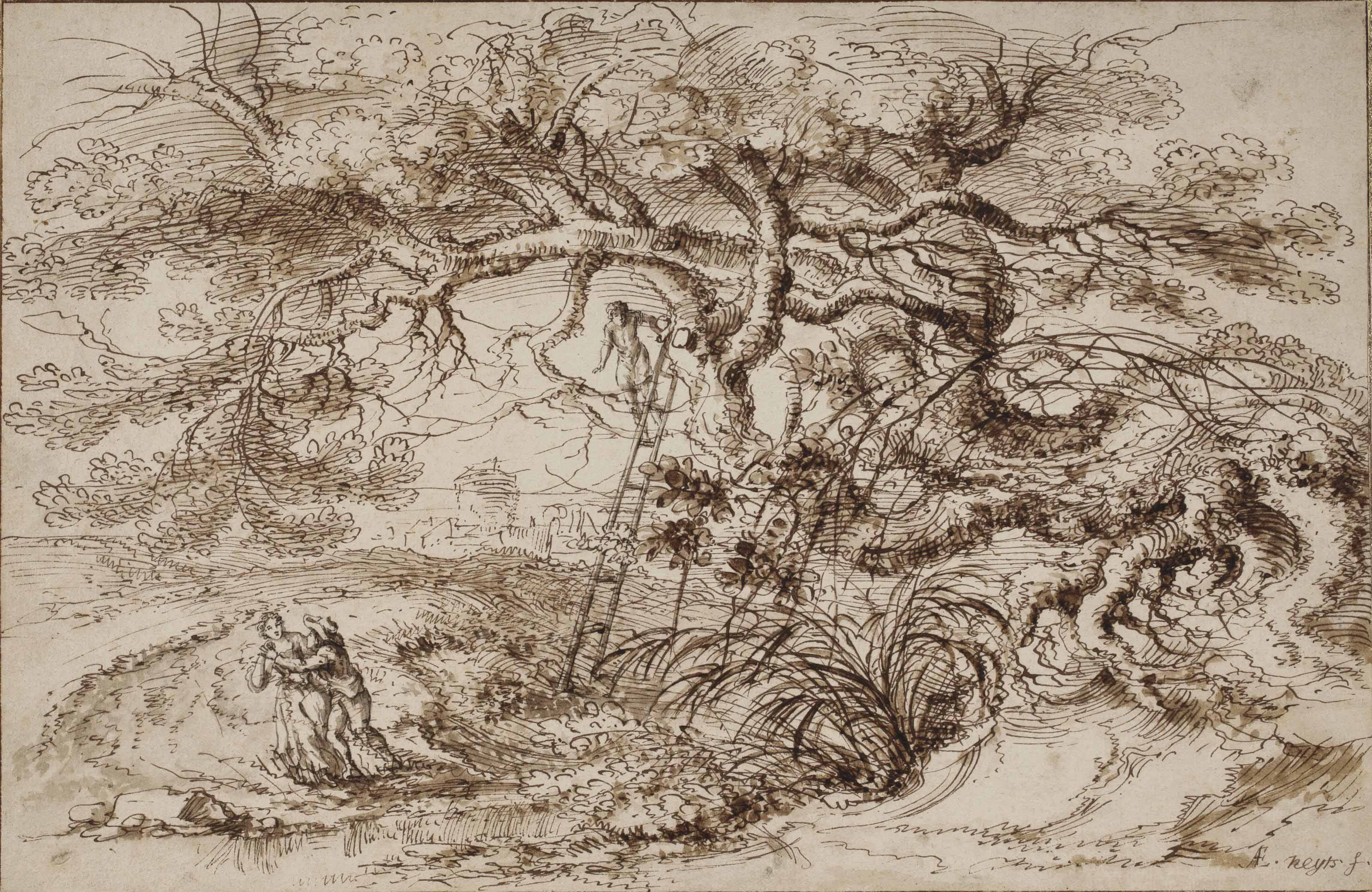 A landscape with a monumental tree and an amorous couple