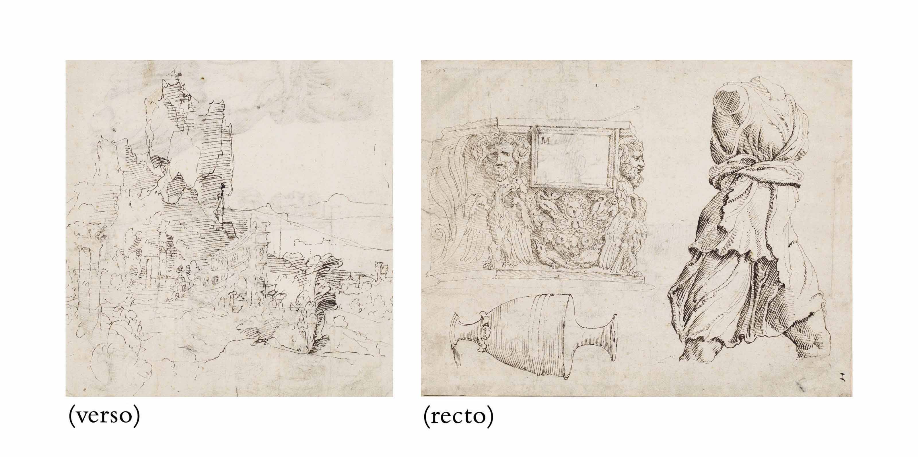 Studies of Roman sculpture: A fragment of a sarcophagus, an antique vase and a torso of Artemis (recto); A fantastical mountainous landscape with ruins (verso)