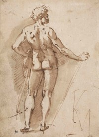 A male nude, seen from behind