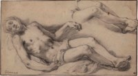 A reclining male nude with a subsidiary study of his legs: Studies for The Lamentation