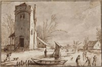 A winter landscape with a tower, kolf players on a frozen river in the foreground