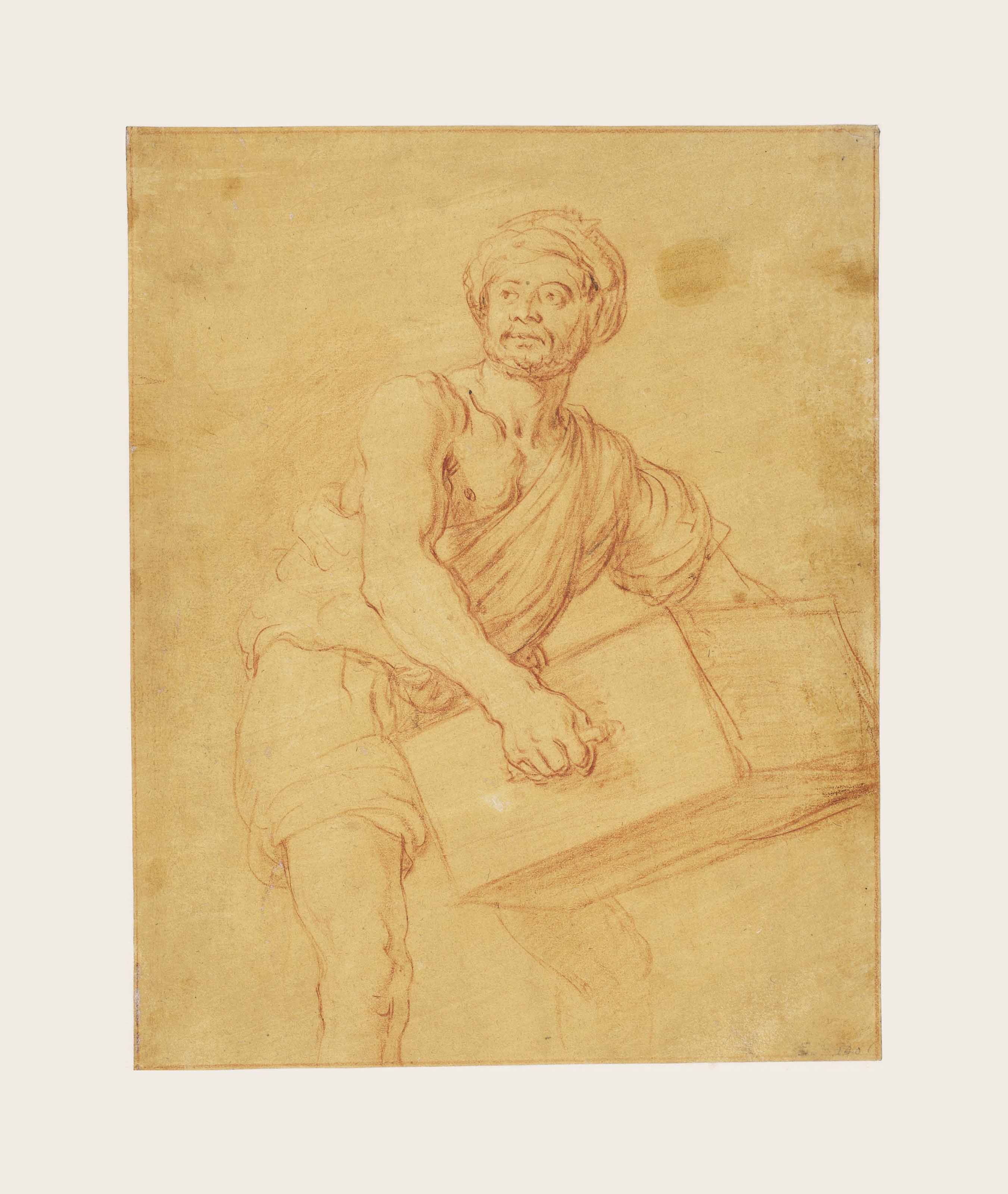 Study of a man carrying a chest