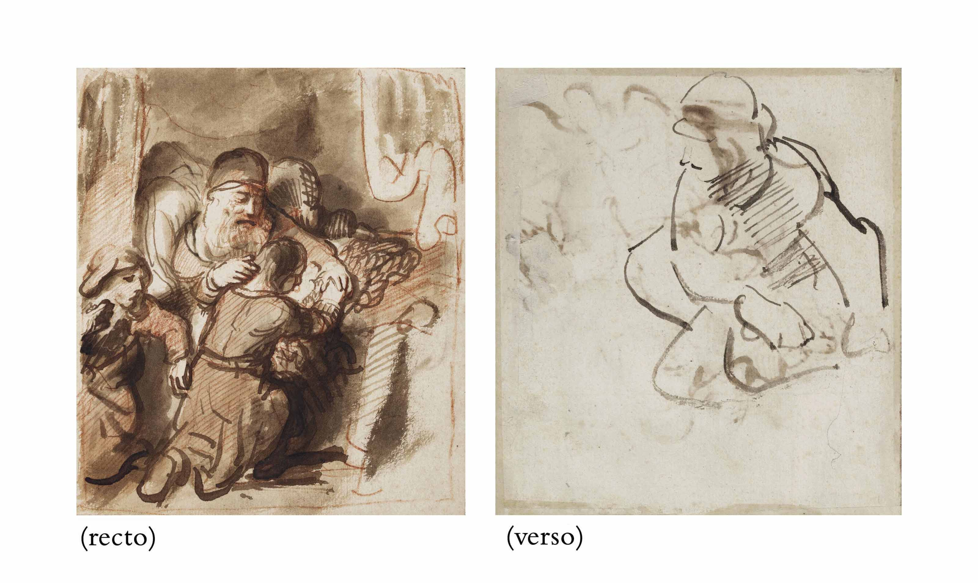 Isaac blessing Jacob (recto); Study for the figure of Abraham in the Sacrifice of Isaac (verso)
