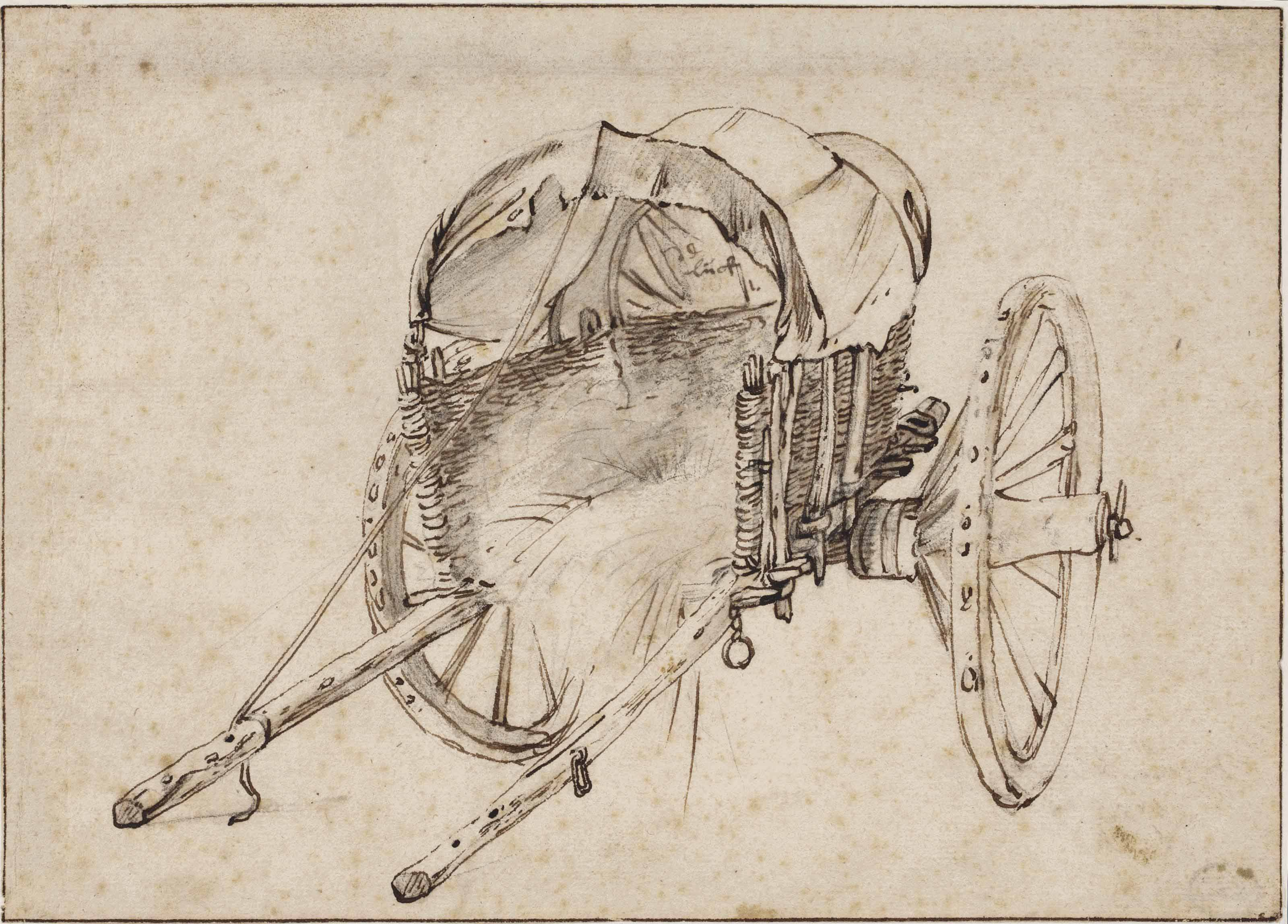 A covered two-wheeled wagon