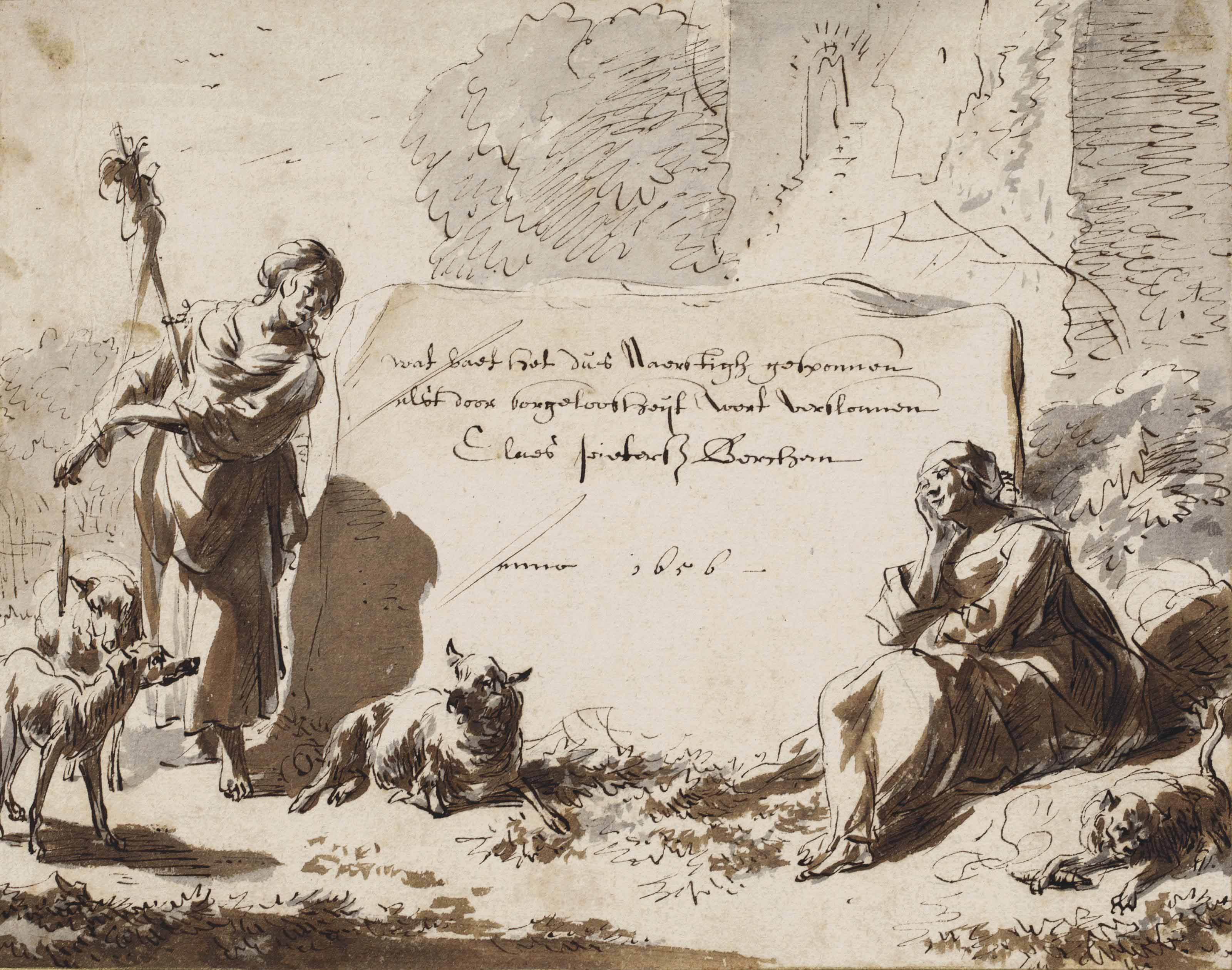 Design for a frontispiece: Allegory of Diligence and Improvidence