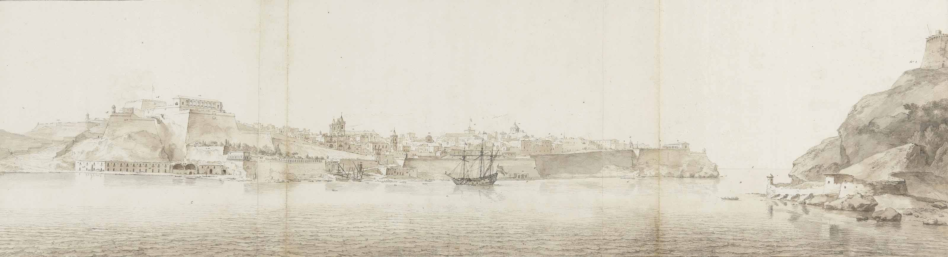 View of Valletta on the island of Malta, seen from Senglea