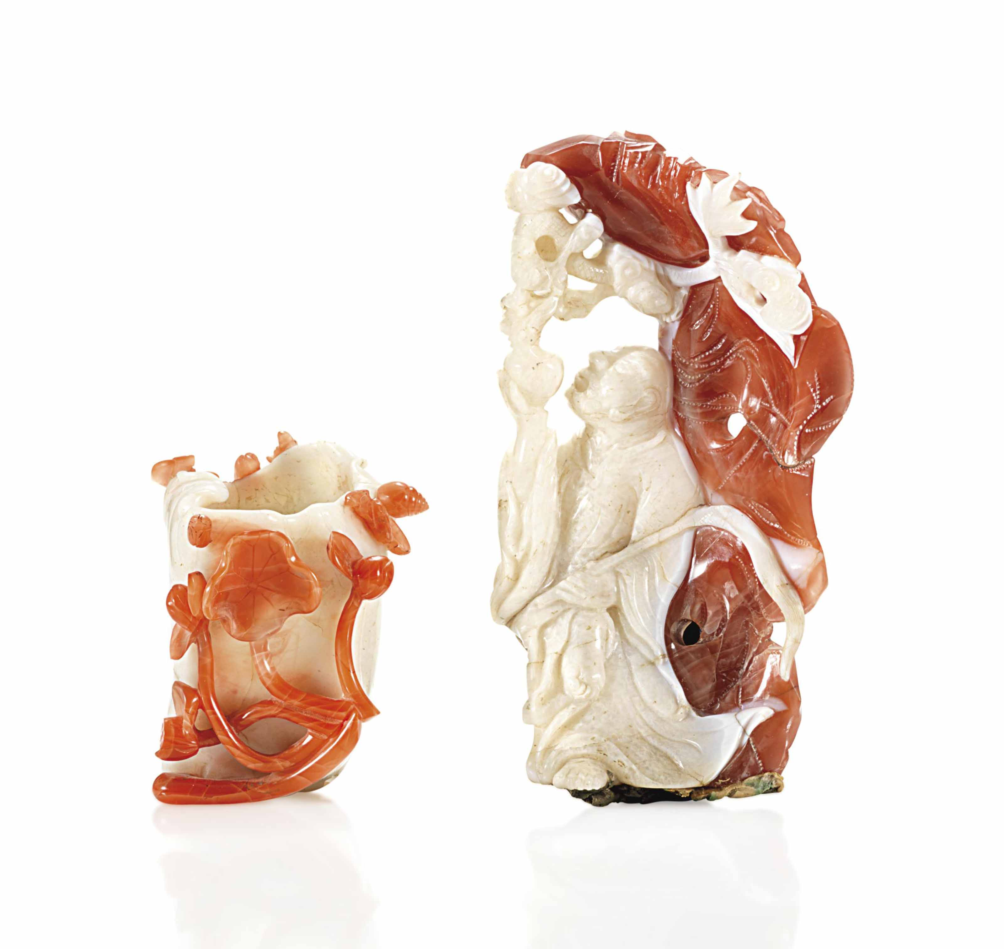 TWO CARNELIAN AGATE CARVINGS