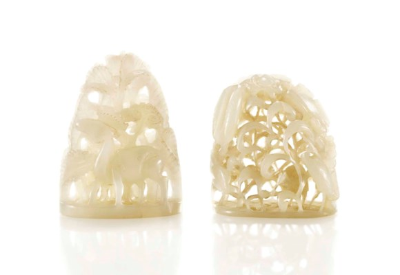 TWO WHITE JADE FINIALS