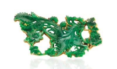 A SMALL APPLE-GREEN JADEITE PH