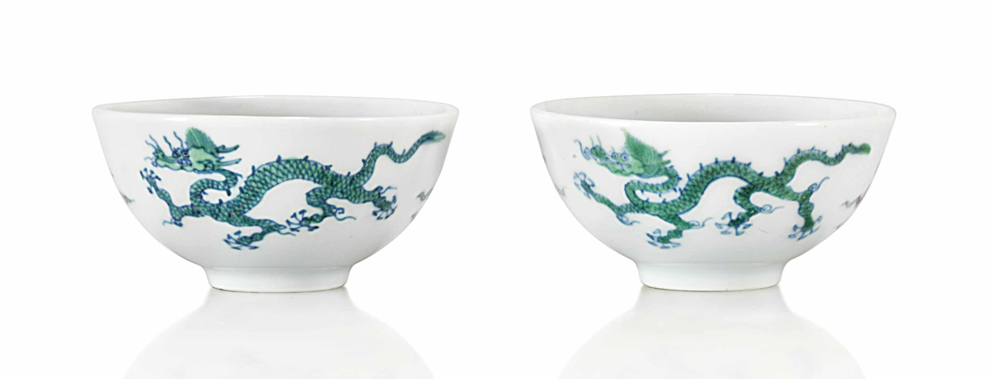 A PAIR OF DOUCAI 'DRAGON' CUPS
