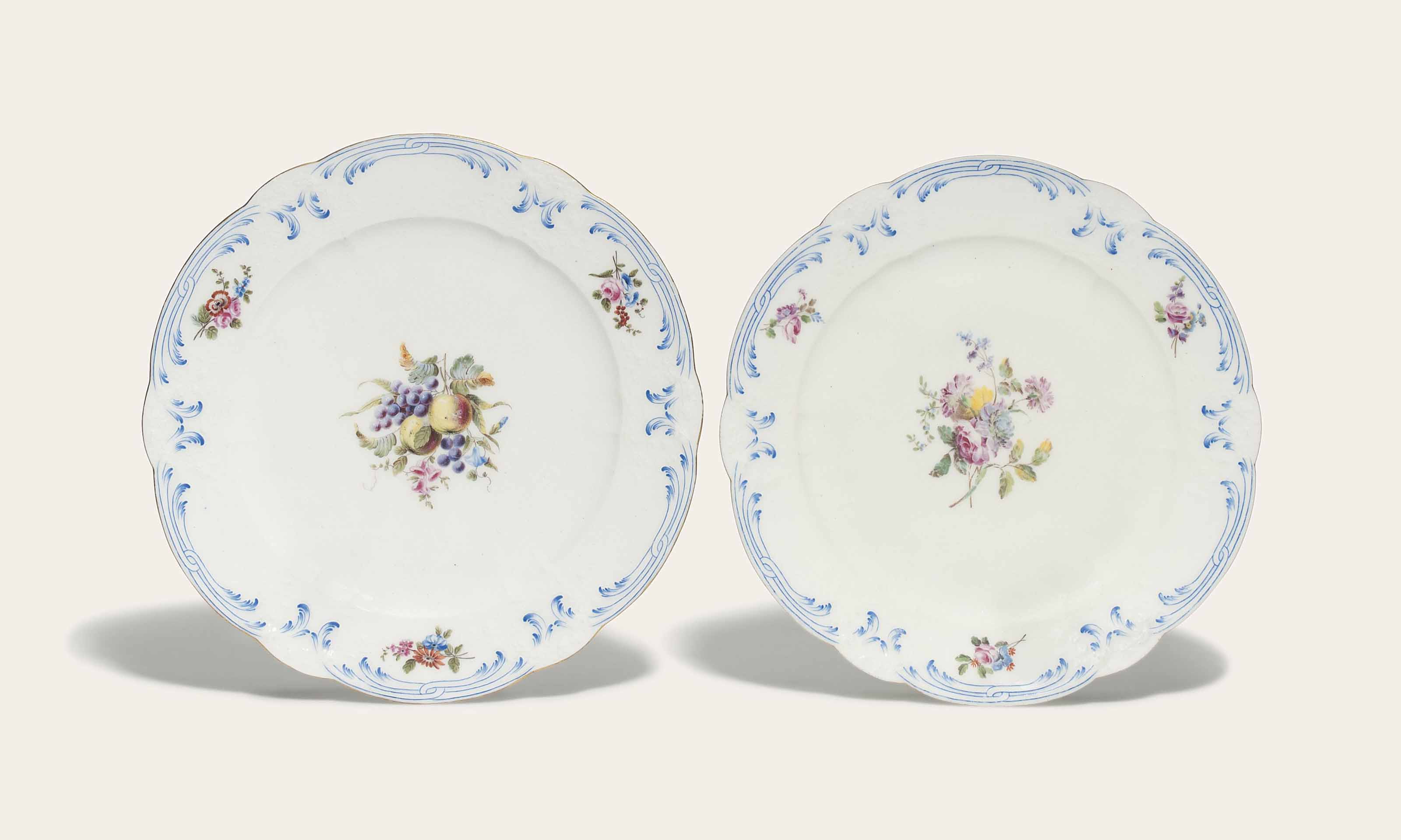 TWO SEVRES PLATES (PROBABLY AS