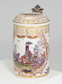 A MEISSEN SILVER-GILT-MOUNTED CHINOISERIE TANKARD AND COVER