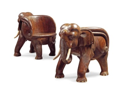 A PAIR OF BALINESE ELEPHANT-FO