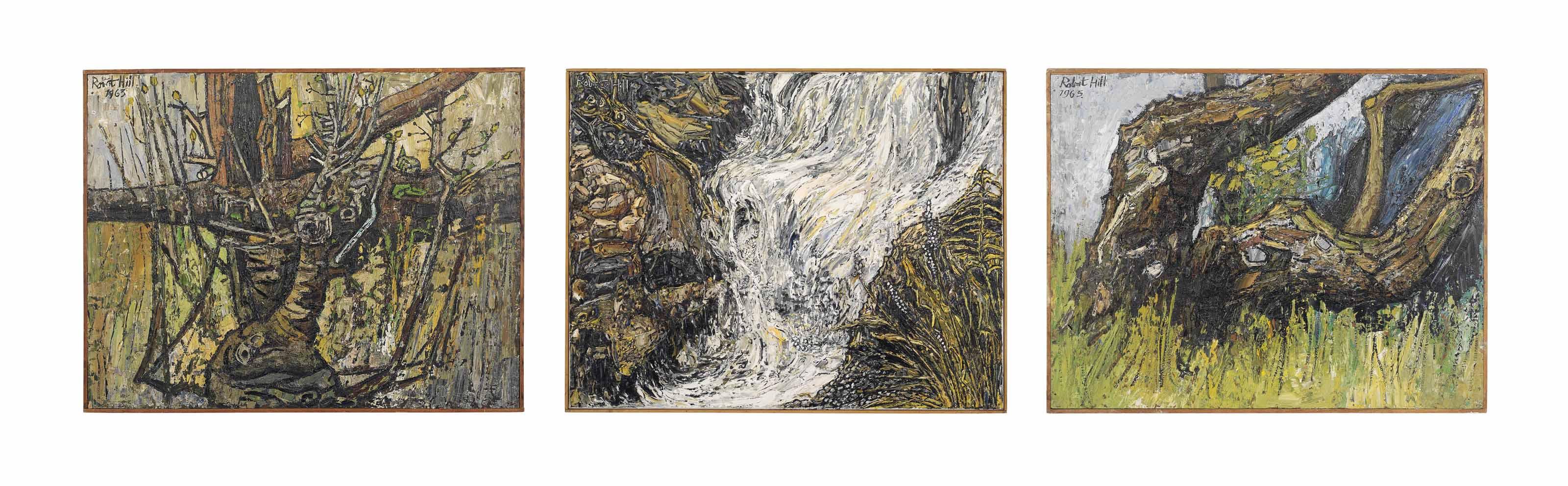 Waterfall; Apple tree; Hollow trunk