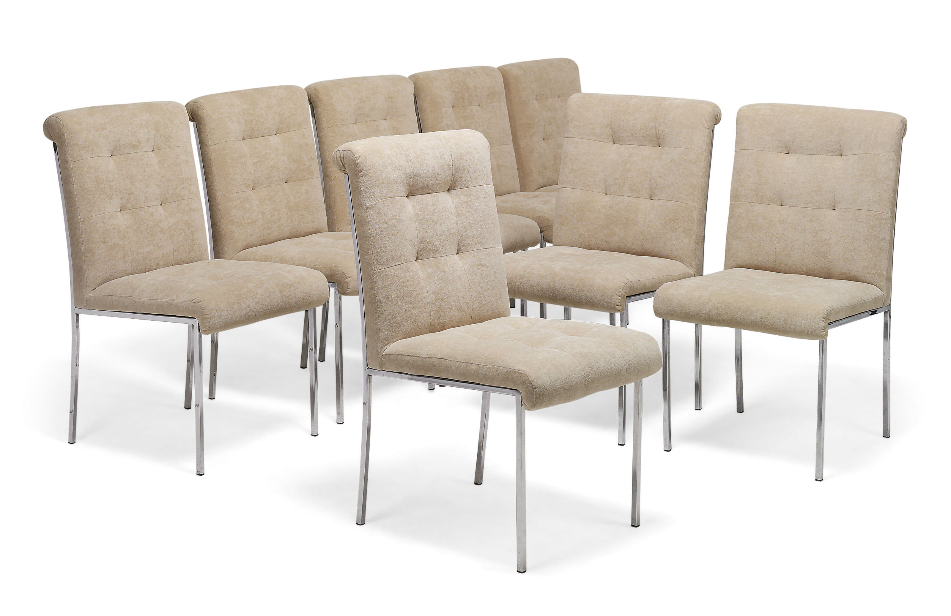 A SET OF EIGHT CHROME-PLATED DINING CHAIRS