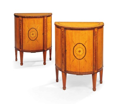 A PAIR OF ENGLISH SATINWOOD, A