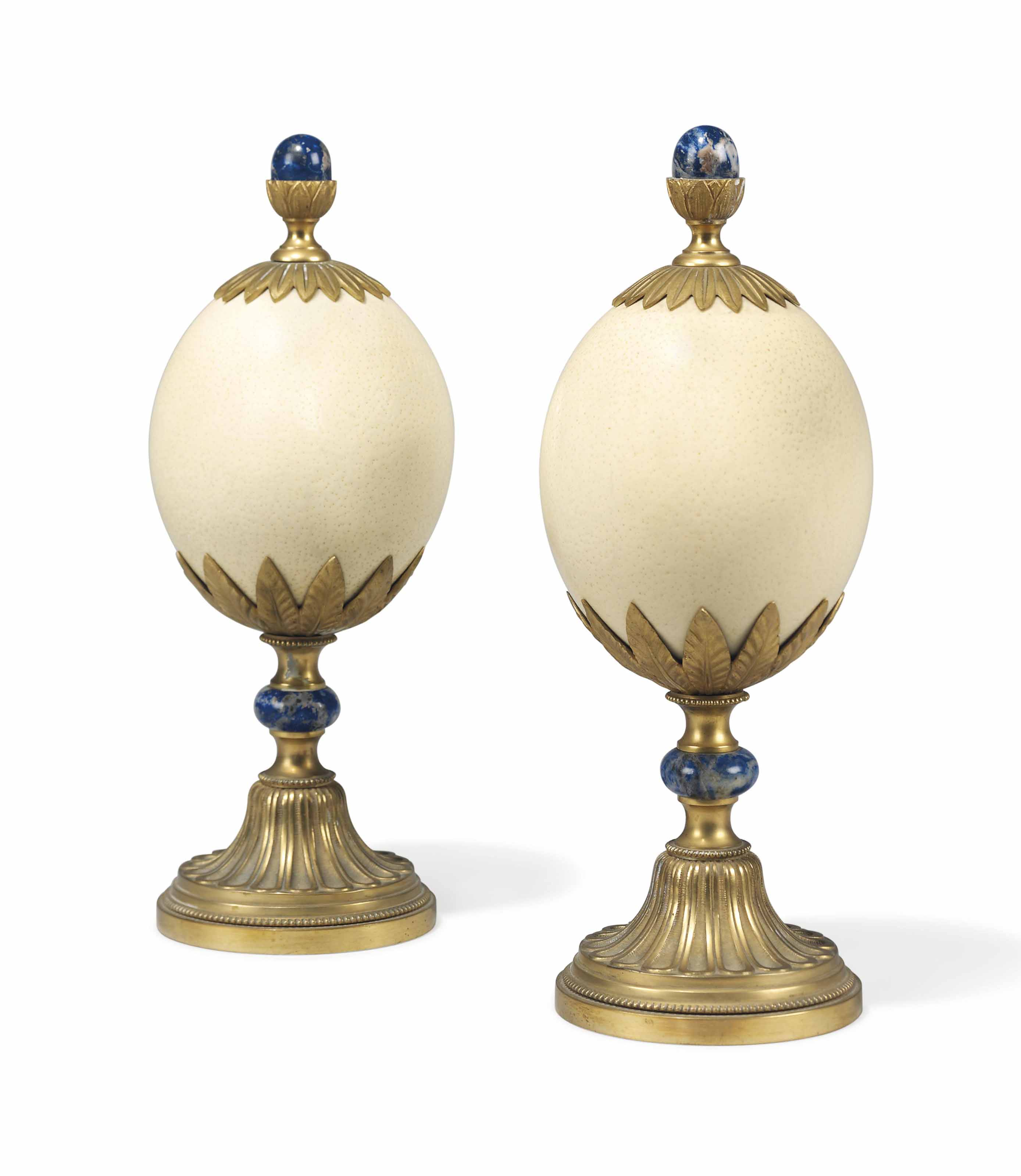 A PAIR OF ORMOLU AND LAPIS LAZ