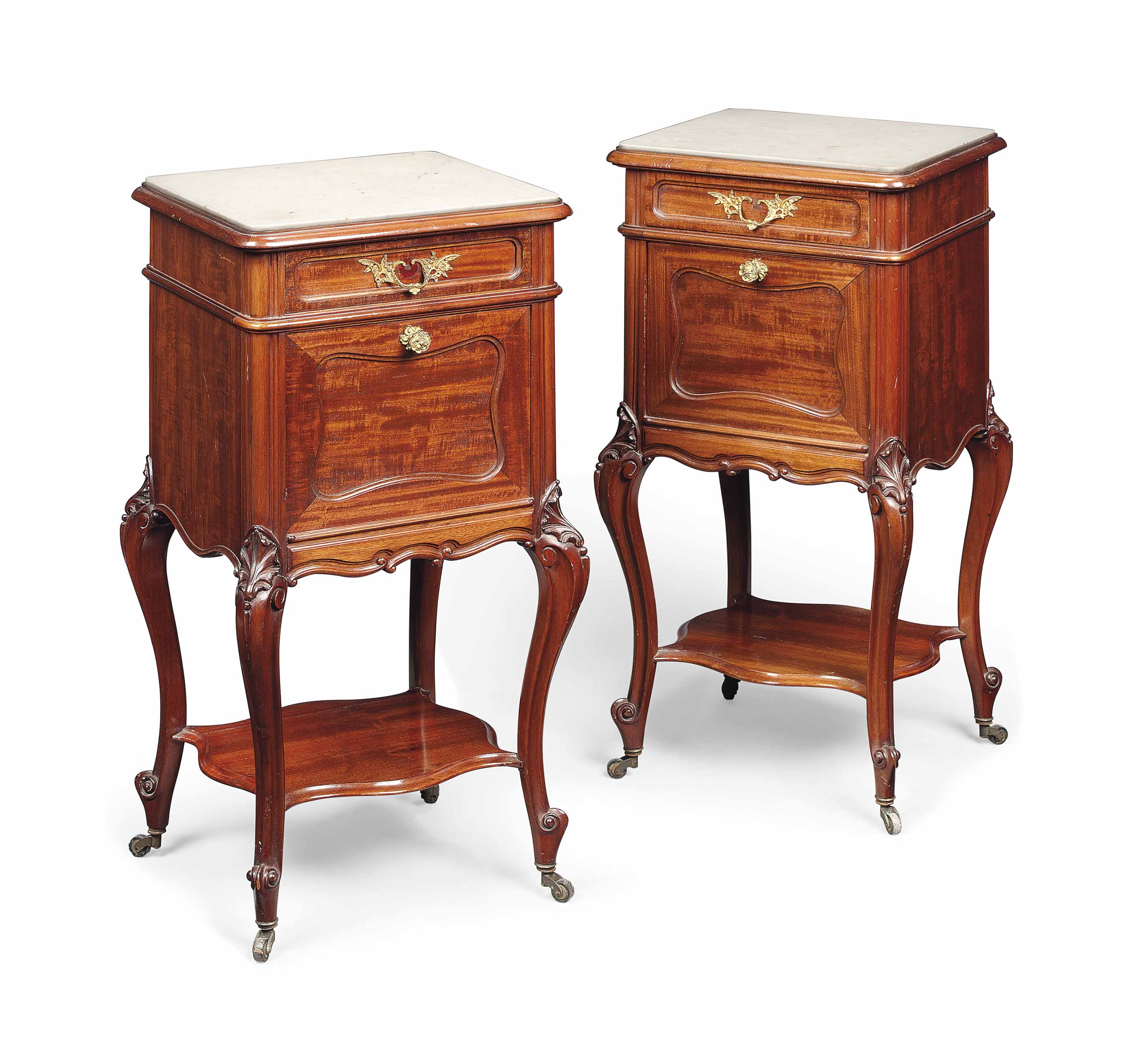A PAIR OF FRENCH MAHOGANY BEDS