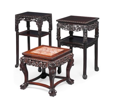 THREE CHINESE HARDWOOD URN STA