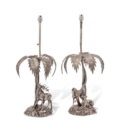 A PAIR OF SPANISH SILVERED-MET
