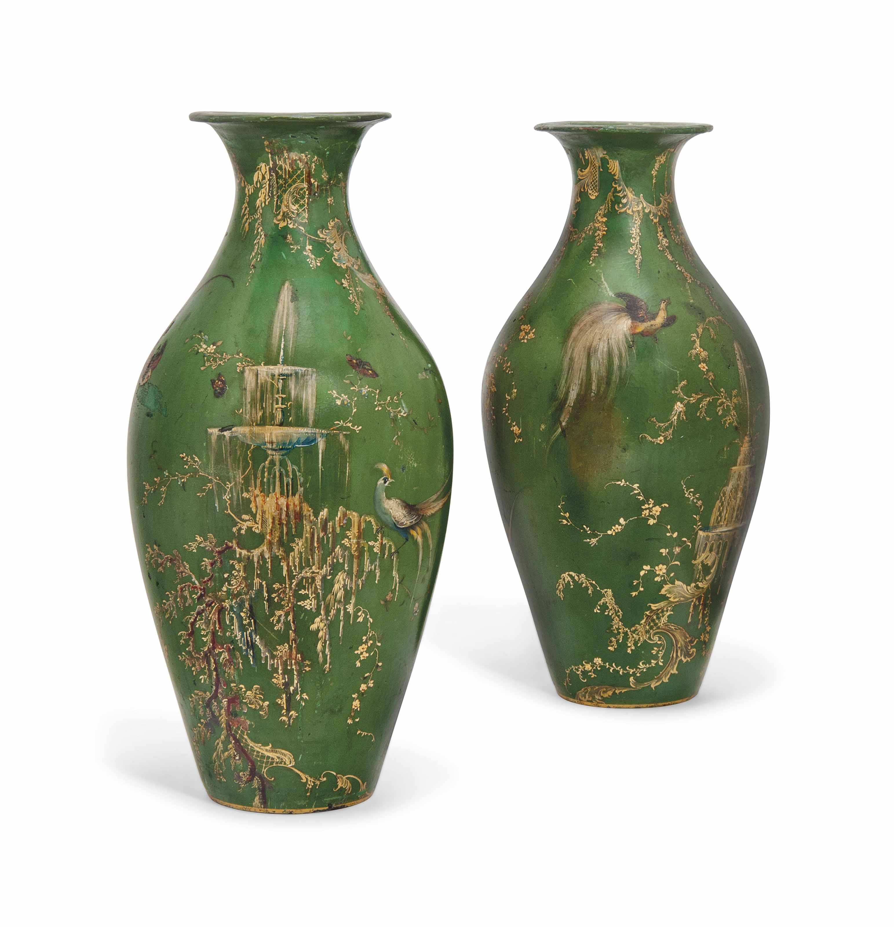 A PAIR OF VICTORIAN GREEN AND GILT-JAPANNED PAPIER-MACHE VASES