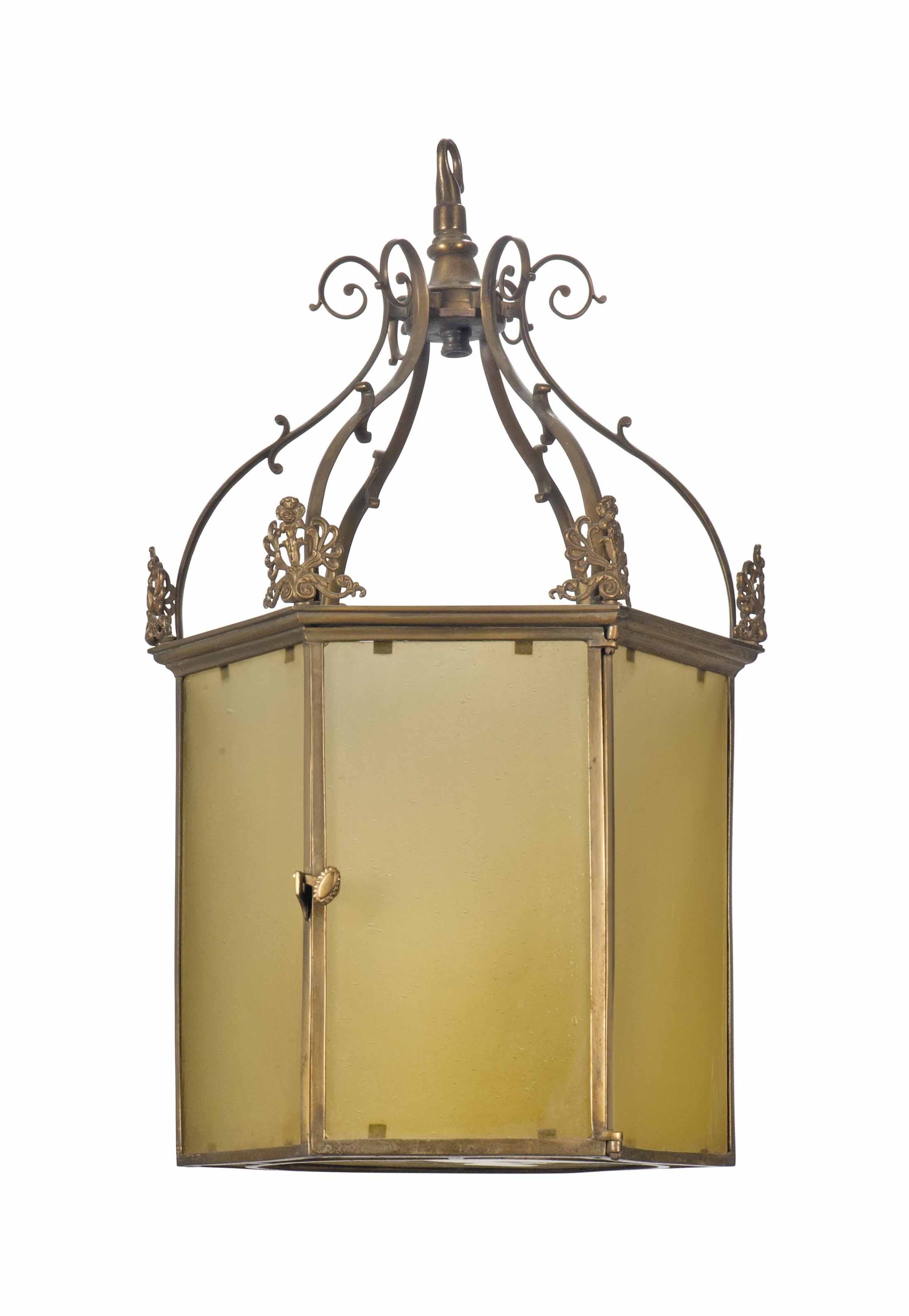 AN EDWARDIAN GILT-BRASS HALL L