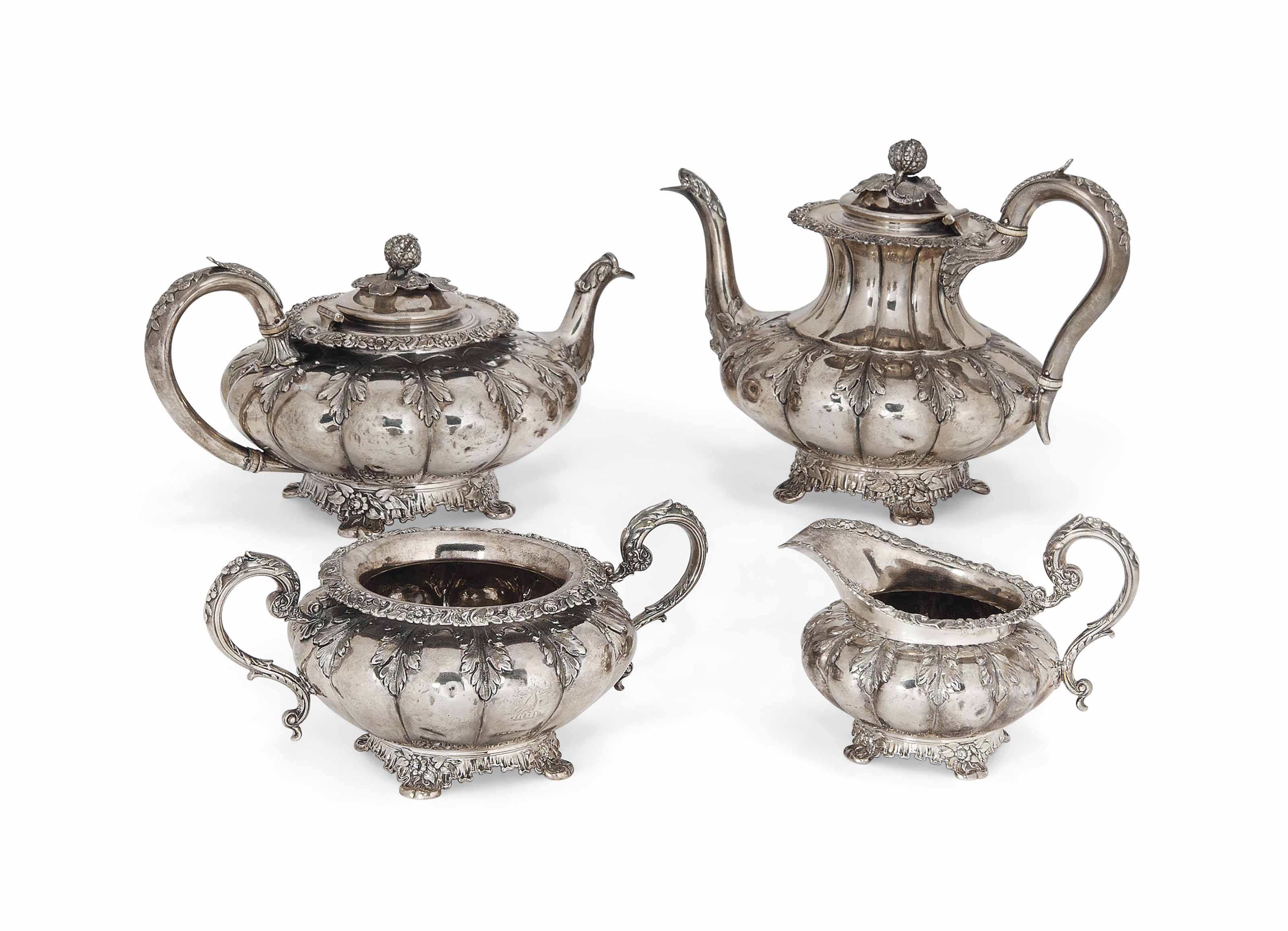 A GEORGE IV FOUR-PIECE SILVER