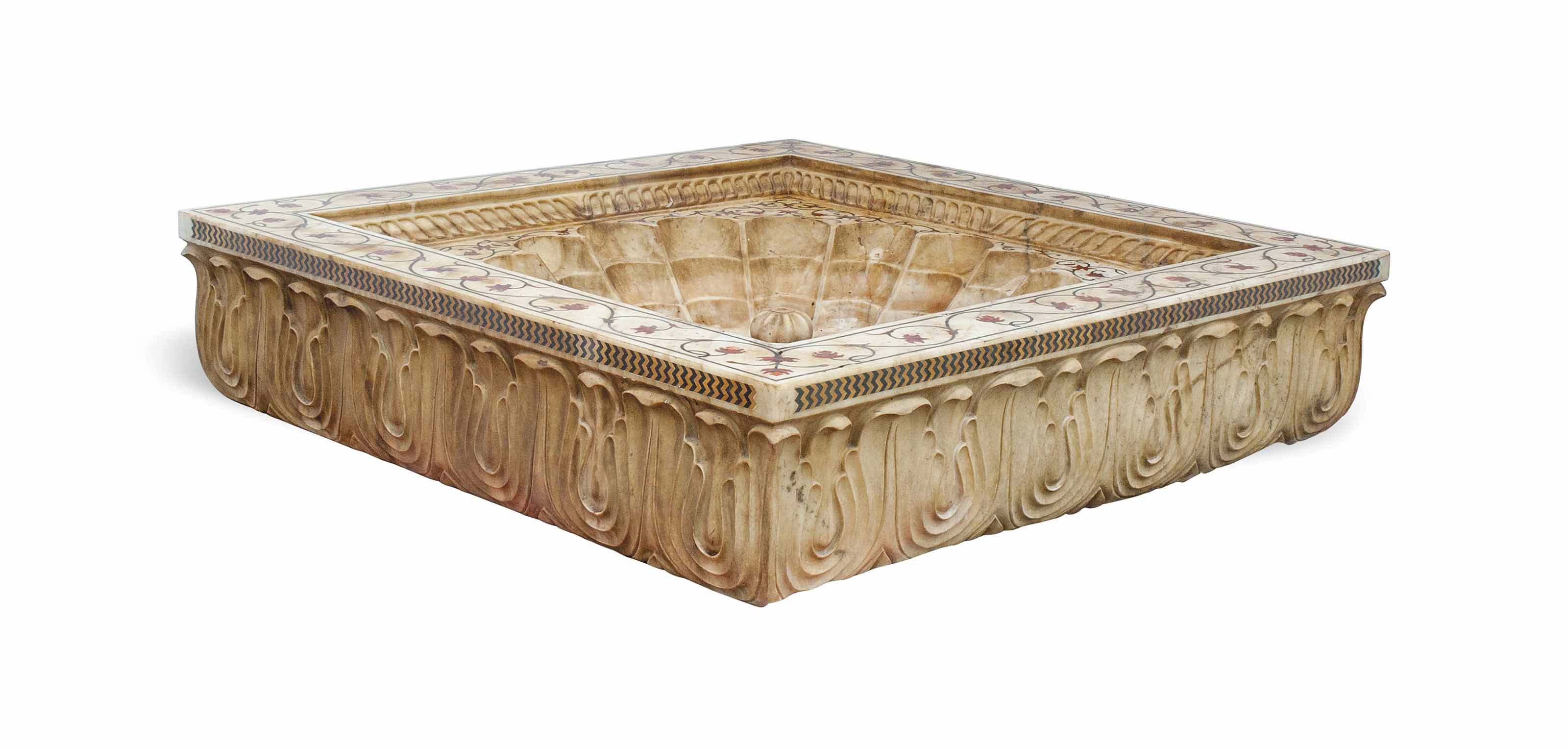 AN INDIAN MARBLE AND INLAID FO