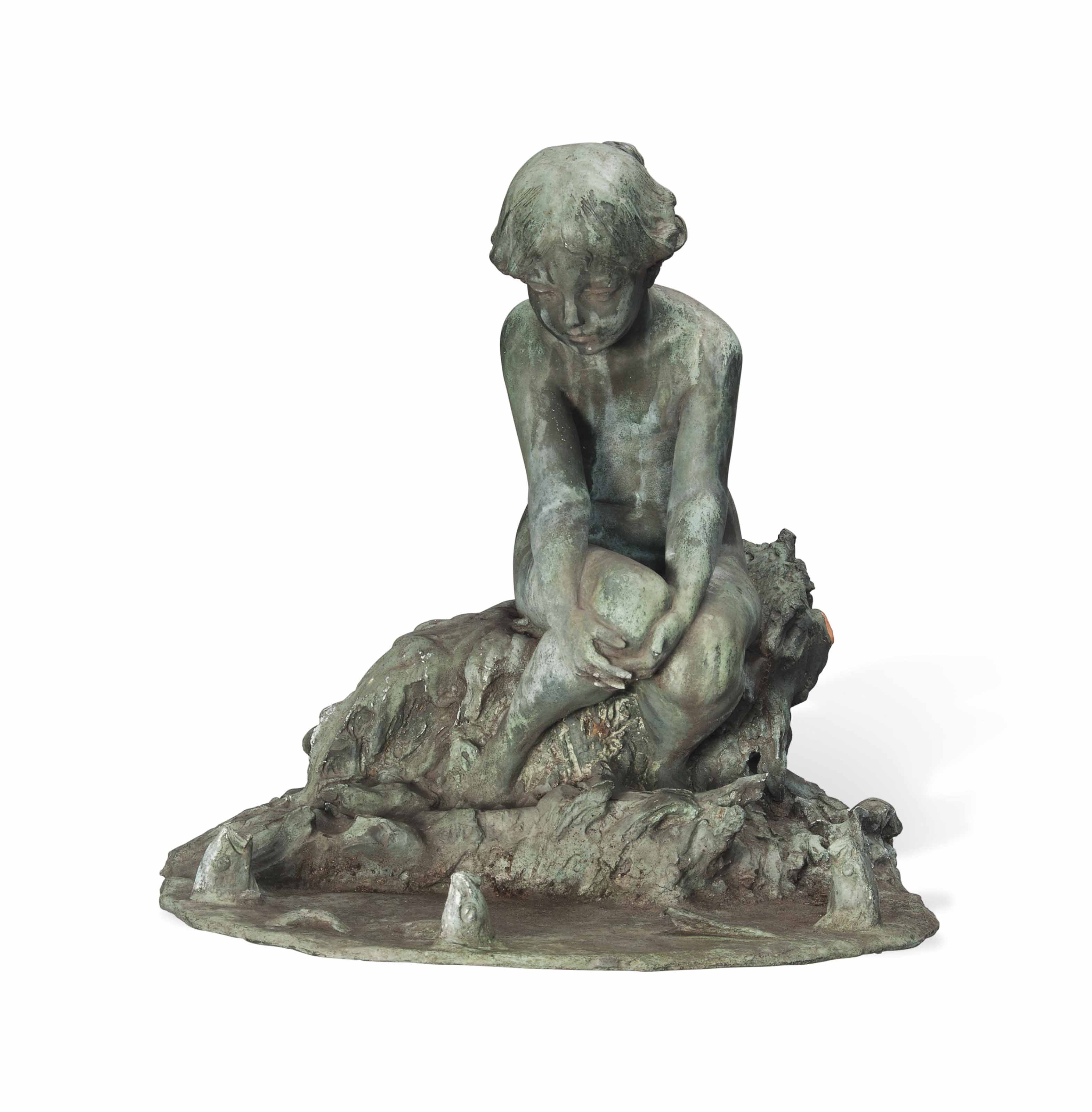 AN AMERICAN BRONZE FOUNTAIN ENTITLED 'AT THE WATER'S EDGE'