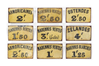 NINE FRENCH TOLE-PEINTE OYSTER