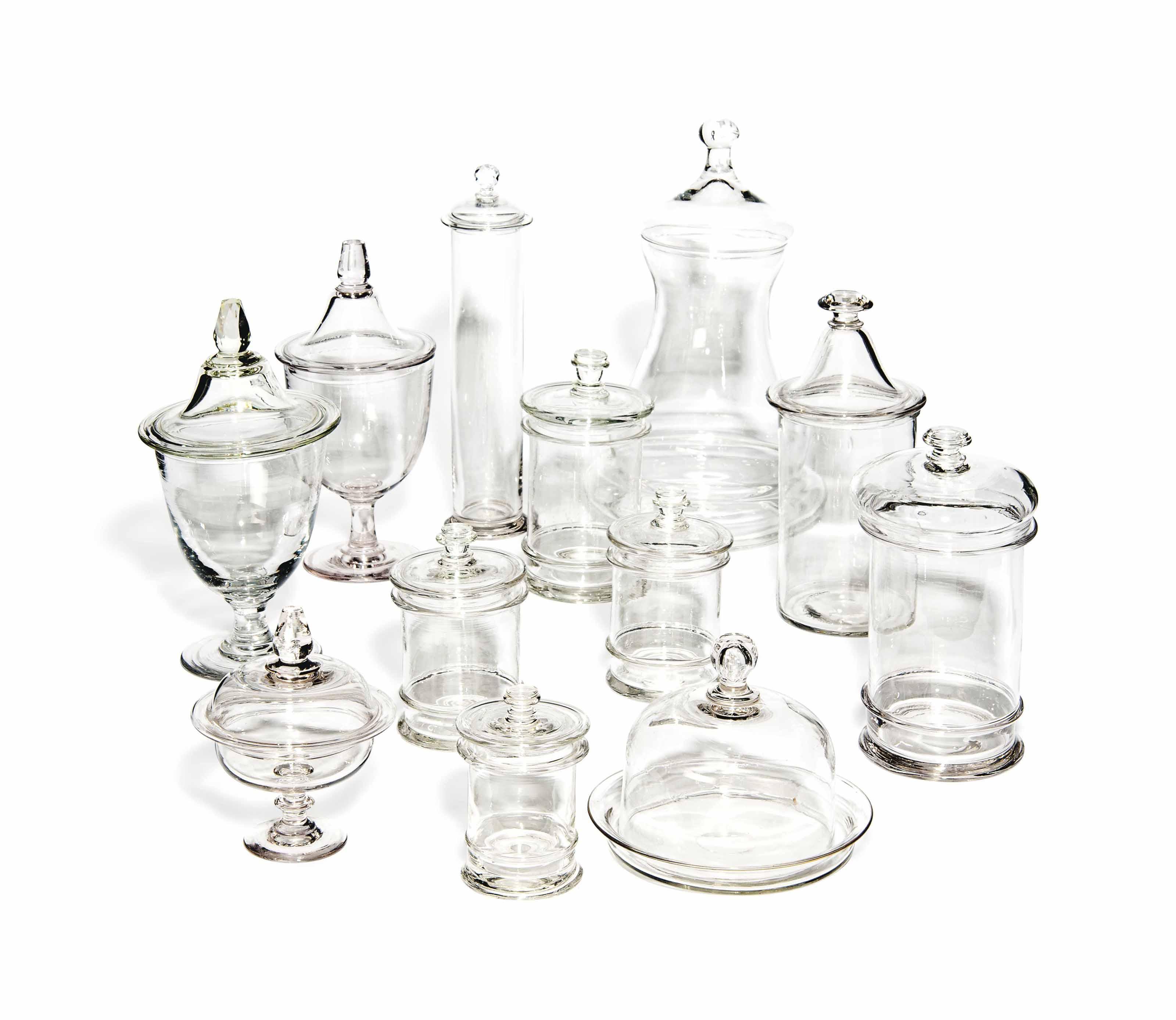 TWELVE GLASS STORAGE JARS AND