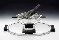 A TÉTARD FRERES (EST. 1880) ART DECO SILVER CHAMPAGNE COOLER AND TRAY