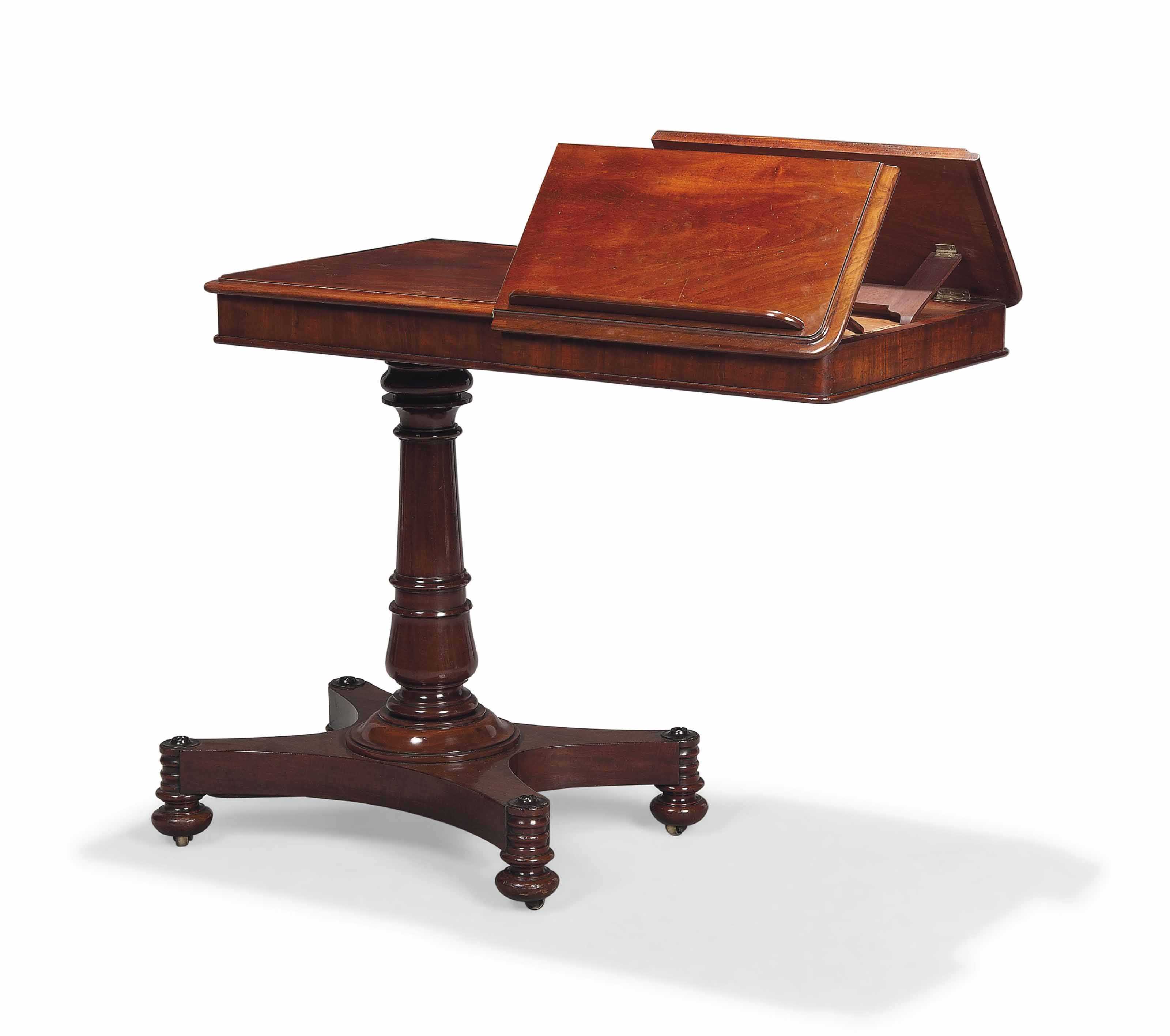 A WILLIAM IV MAHOGANY READING TABLE
