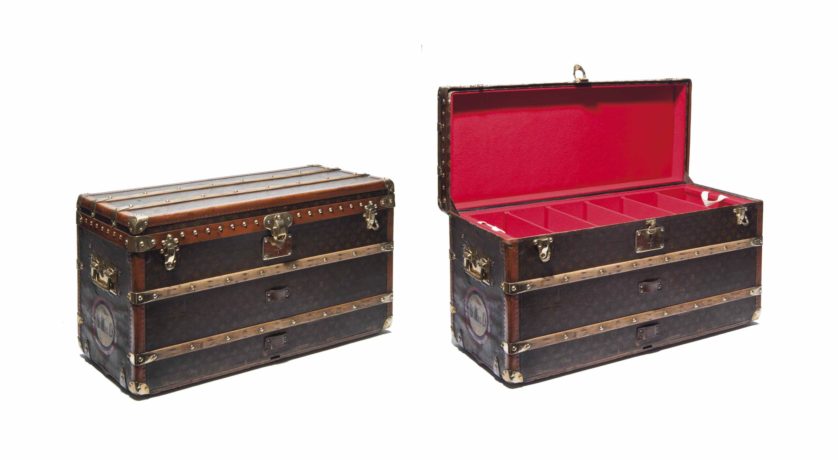 A SUPERB MONOGRAM CANVAS SHOE TRUNK