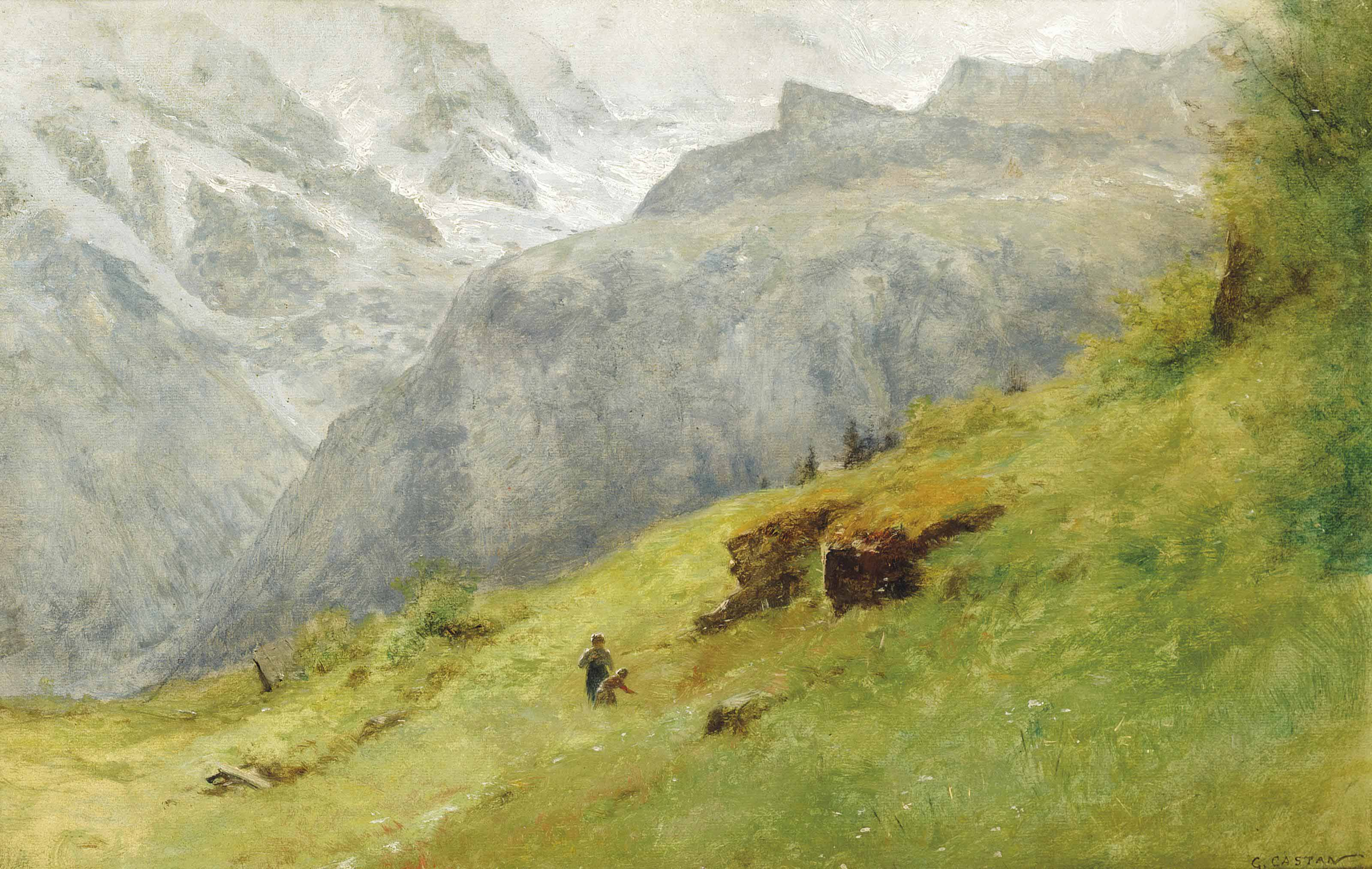 Children picking flowers in an Alpine landscape