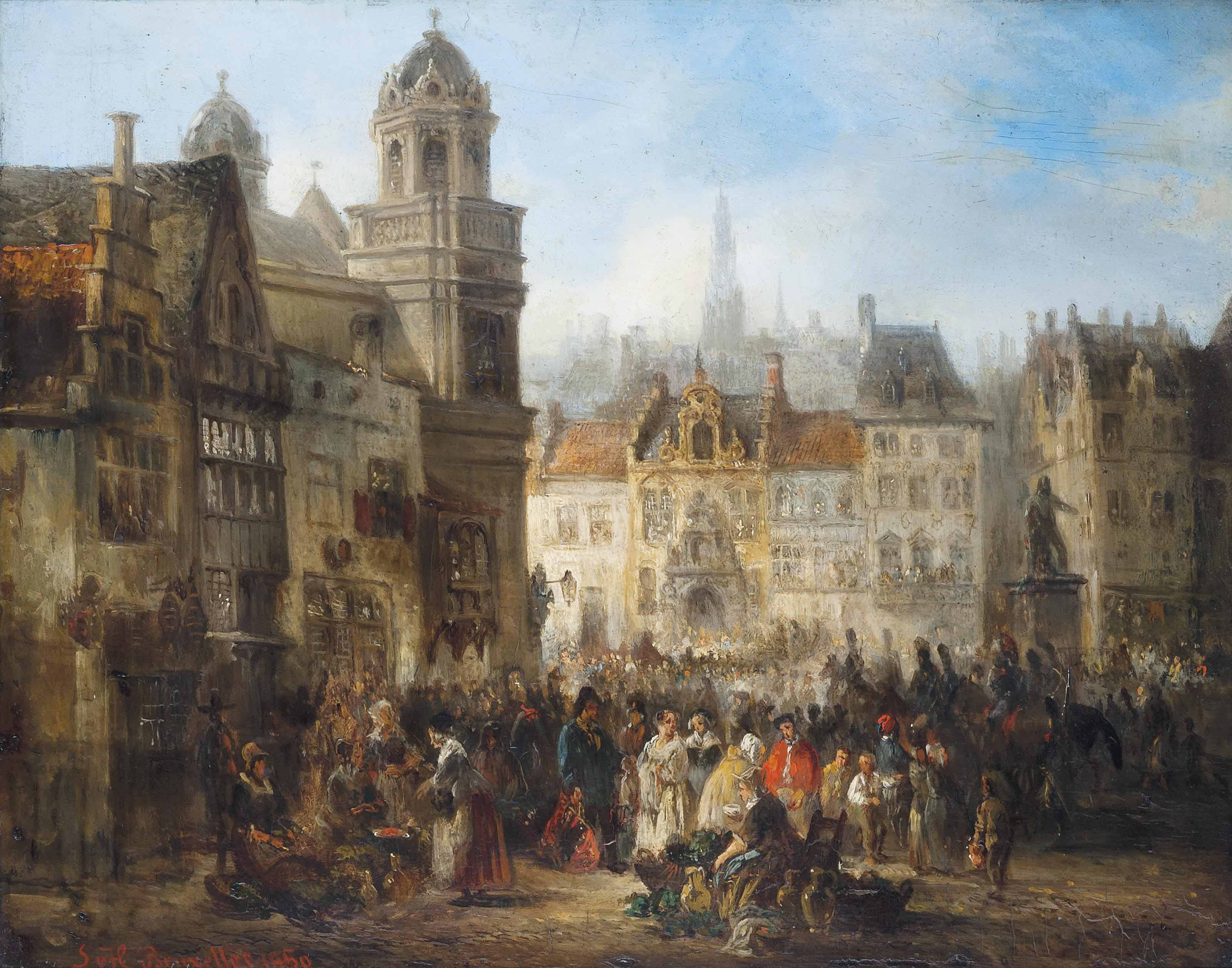 Market day in a Brussels square
