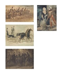 L'Avenue de l'Impératrice, allée des cavaliers; A study of two ladies; La Carosse; and A gathering of riders in the woods