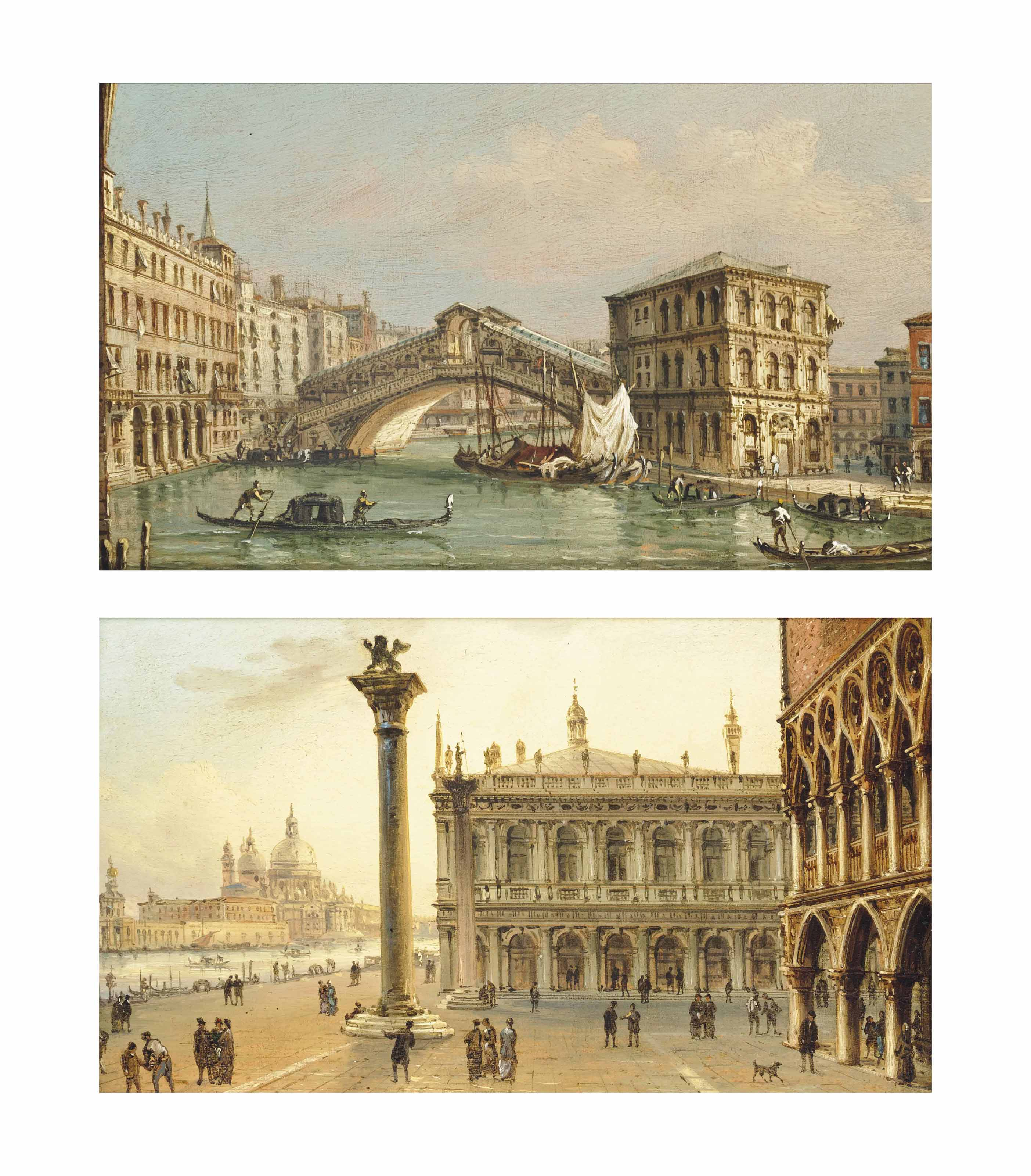 The Rialto Bridge, Venice; and The Molo, Venice