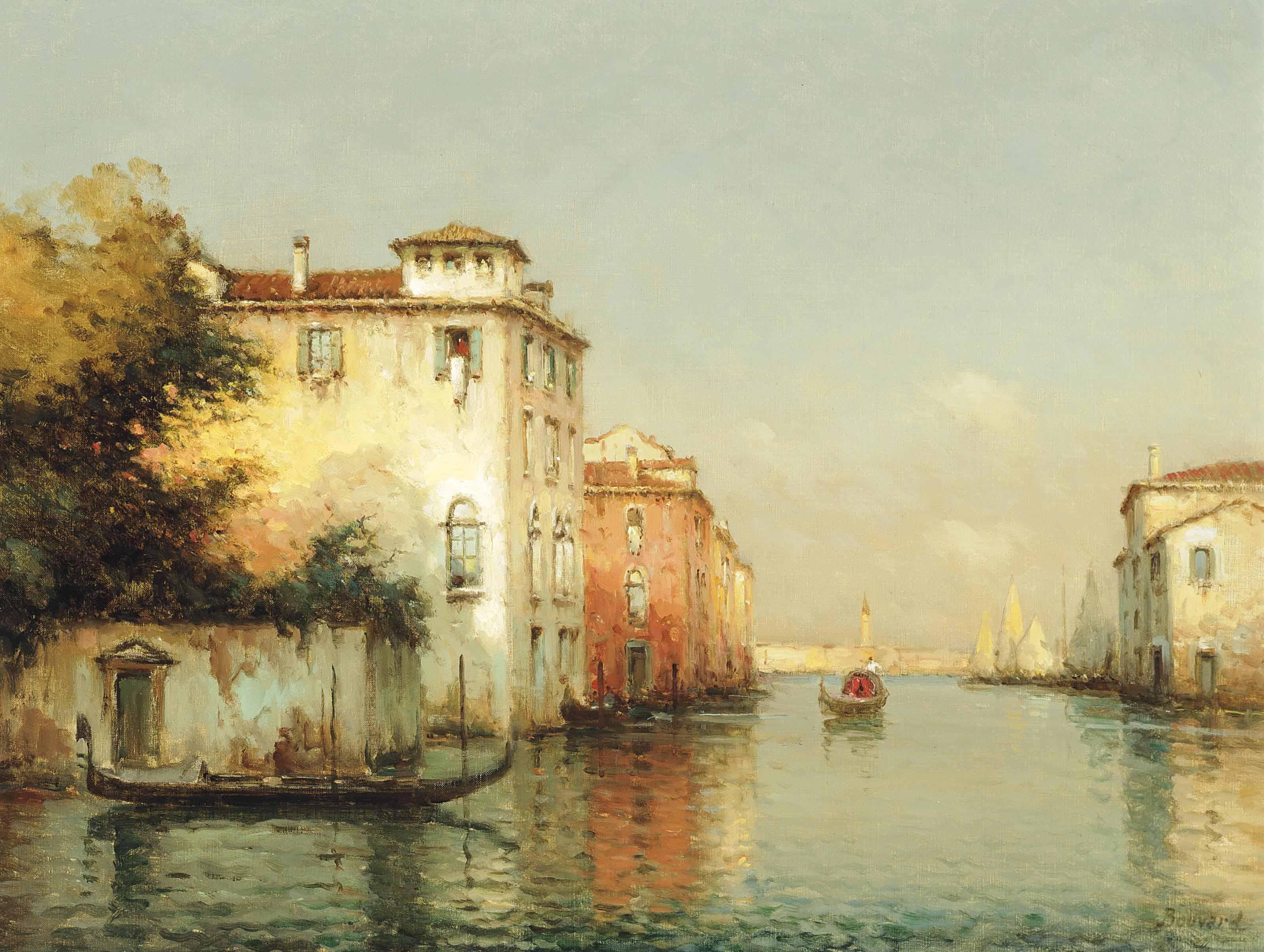 A gondolier on a Giudecca Canal, Venice