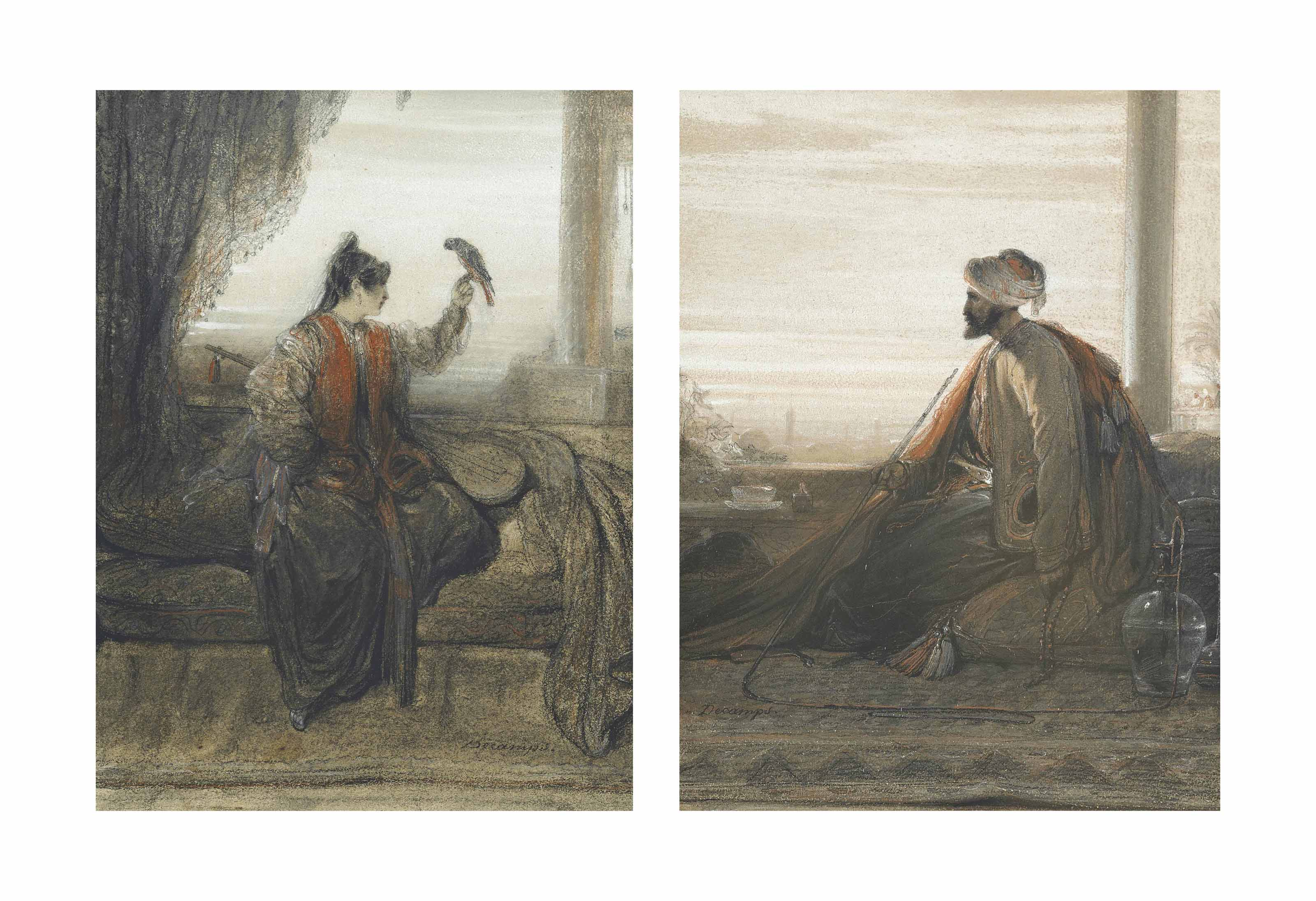 An Ottoman smoking a hookah; and A girl and a parrot