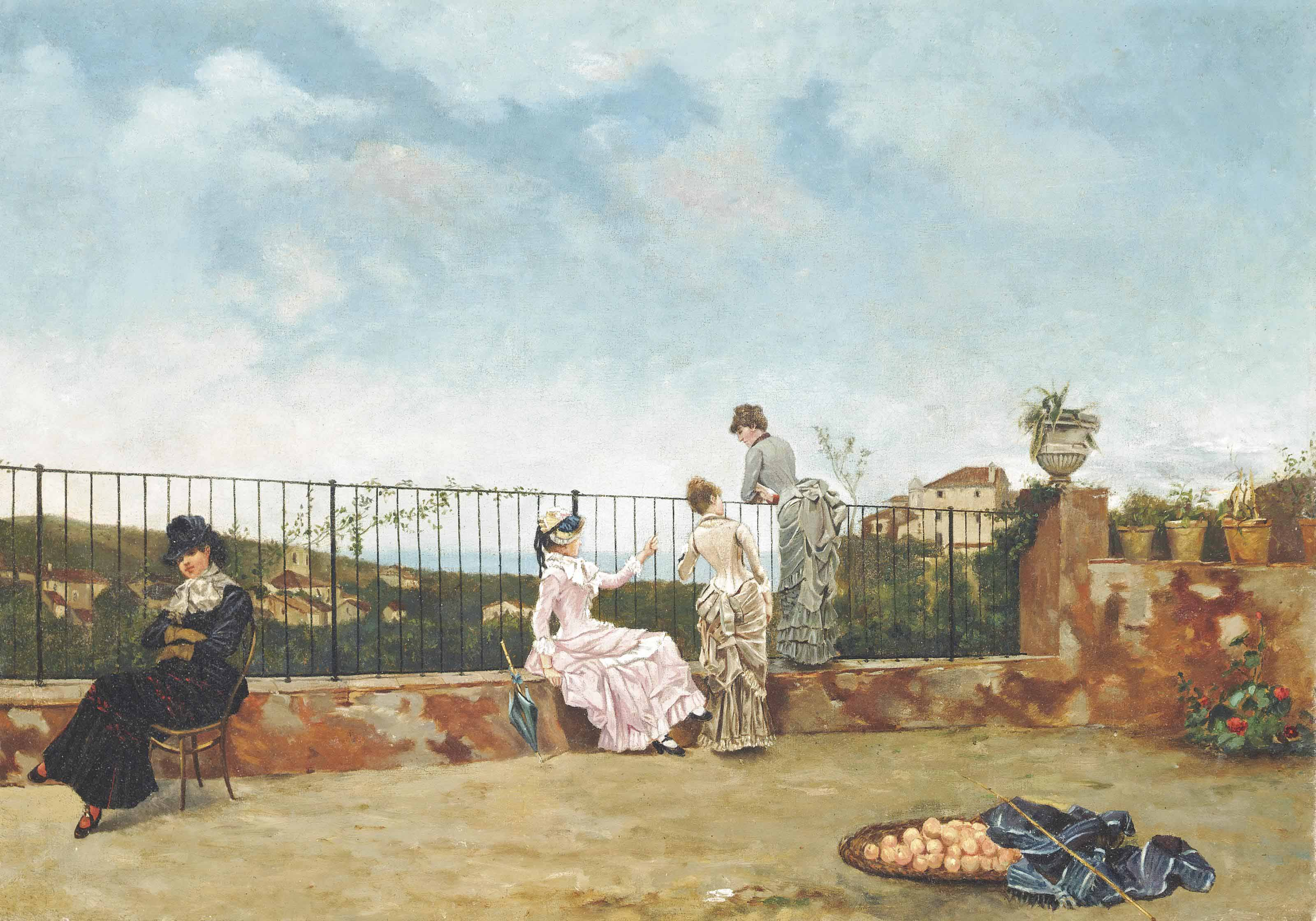 Elegant company on the balcony