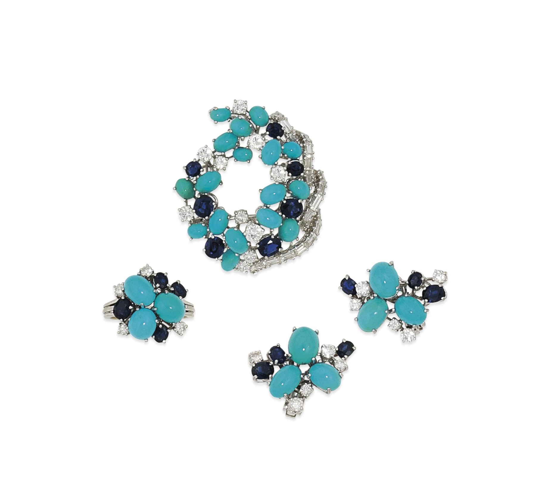 A turquoise, sapphire and diamond brooch, ring and earring suite