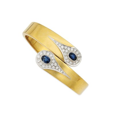 An 18ct gold, sapphire and dia