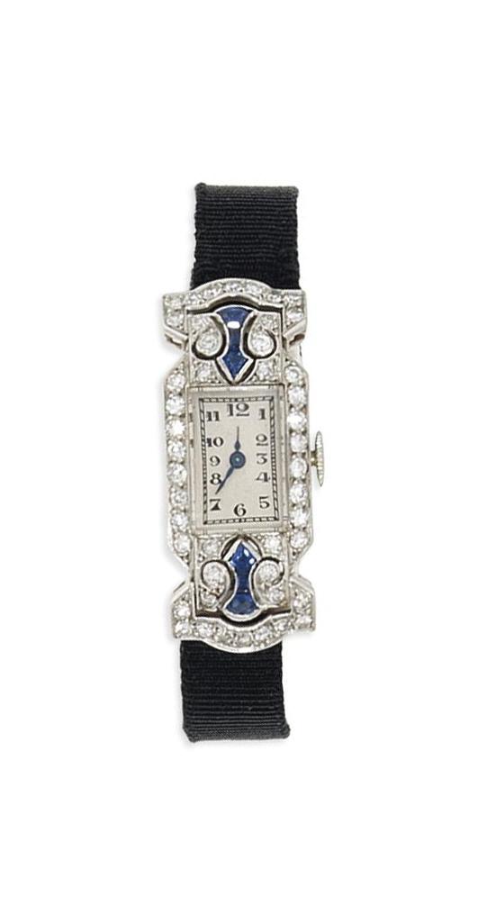 A lady's Art deco platinum, diamond and sapphire wristwatch